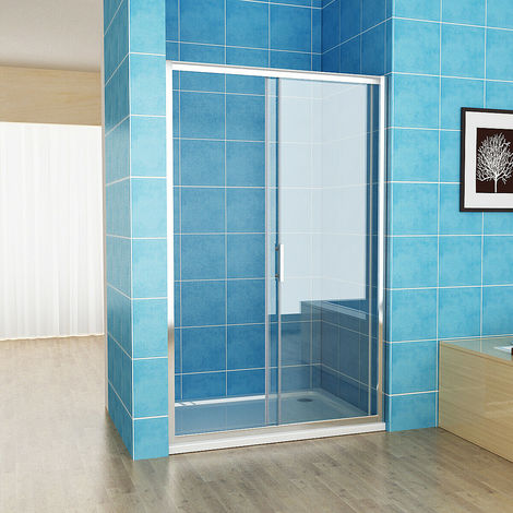 Easy Clean Nano Glass Screen Shower Enclosure Cubicle Sliding Shower Door Bathroom - No Tray