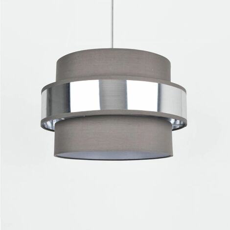 Easy Fit 2 Tier Grey Fabric Brushed Silver or Copper Plated Ceiling Shade