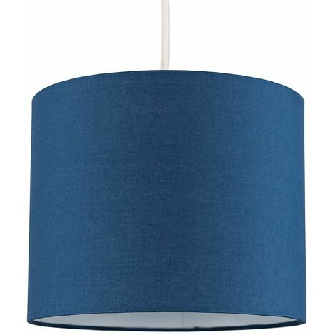 Easy Fit Pendant Light Shade 25cm Fabric Lampshade Table Lamp Ceiling - Grey & Chrome