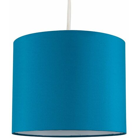 Easy Fit Pendant Light Shade 25cm Fabric Lampshade Table Lamp Ceiling - Grey & Chrome - Grey