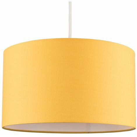 Easy Fit Pendant Light Shade 35cm Fabric Lampshade Table Lamp Ceiling - Grey & Gold - Grey