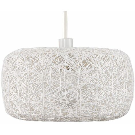 Easy Fit Rattan Lounge Living Room White Ceiling Pendant Shade
