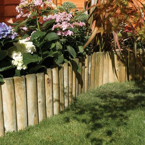 Easy Fix Spiked Natural Timber Border Roll 1.8m