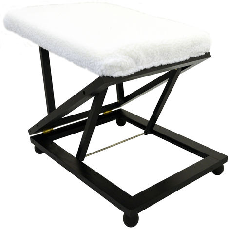EASY - Folding Adjustable Solid Wood Comfort Footstool / Footrest - Dark Stain / Warm White