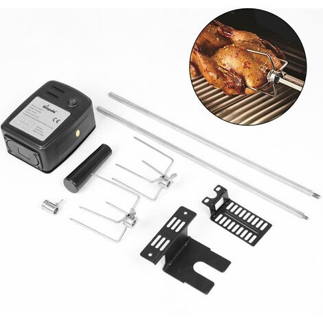 """main image of """"Easy Install Meat Forks Tools Stainless Steel Camping Household Cooking BBQ Motor Set Electric Automatic Rotisserie Spit Rod,model:Black"""""""