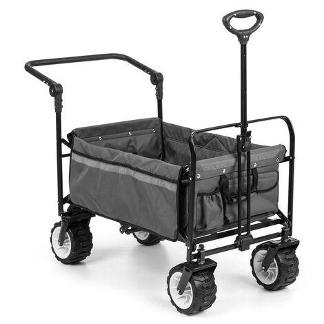 Easy Rider chariot de transport avec toit charge 70kg barre télescopique pliant gris