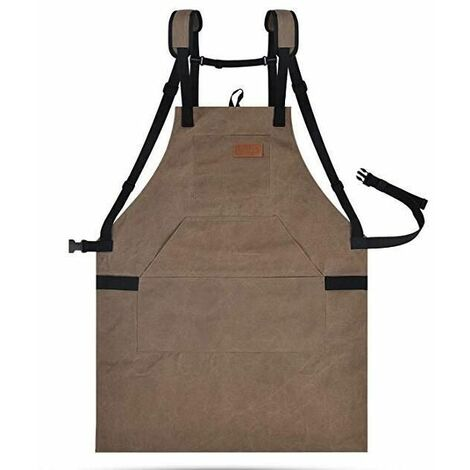 Easy-to-adjust, waterproof, sturdy canvas unisex apron for kitchen, garden, pottery, workshop, garage, brown