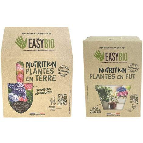 EASYBIO - Lot Engrais Plantes en pot 60g et Engrais plantes en terre 500g