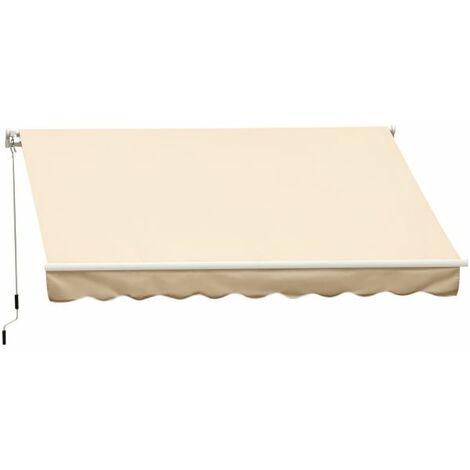 EASYCOMFORT Tenda da Sole a Braccio Avvolgibile Manuale a Parete in Poliestere Impermeabile, Beige, 4x2.5m