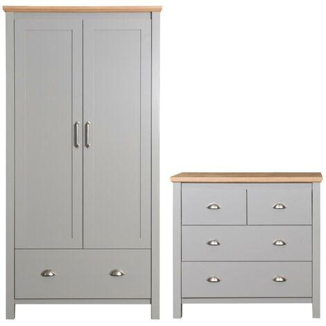 Eaton Grey 2 Piece Bedroom Furniture Set 2 Door Wardrobe 4 Drawer Chest
