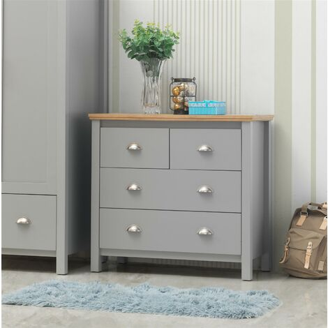 Eaton Grey Bedroom Chest of Drawers 2+2 4 Drawer Storage Cabinet Furniture