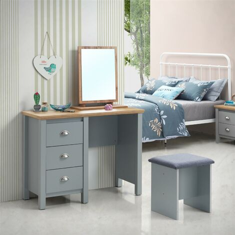 Eaton Grey Makeup Dressing Table Stool Bedroom Chair Seat Vanity Stool