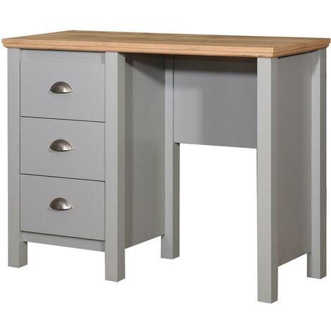 Eaton Single Pedestal Dressing Table 3 Drawer Vanity Makeup Desk Grey and Oak