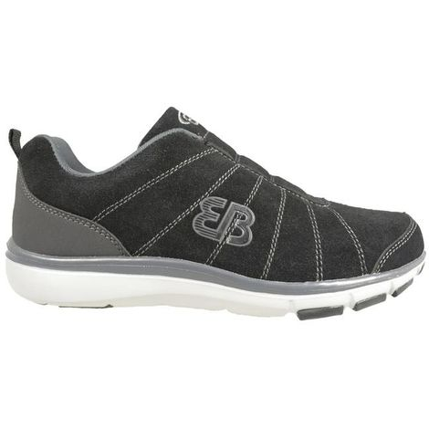 EB Brütting Chaussures de sport en daim gris/noir sans lacets pour homme - Dallas - taille 40