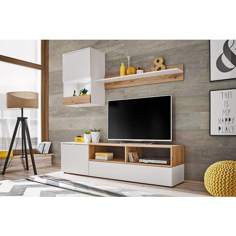 EBBA   Unité murale style scandinave 3 pcs   Éclairage LED inclus   Mur TV   Ensembles meubles salon séjour   Aspect bois - Blanc/Chêne