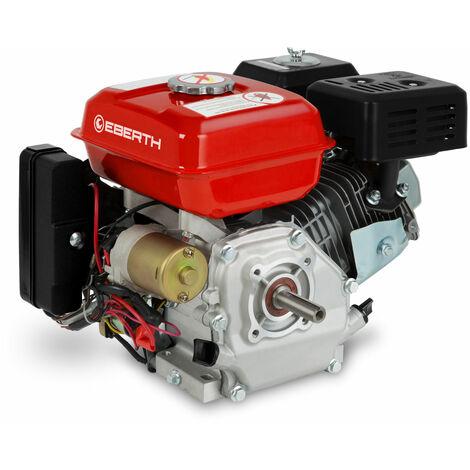 EBERTH Moteur thermique à essence (6,5 CV / 4,8 KW, Onde 20 mm, Demarreur electrique (E-Start) et via câble, 4-temps, 1 cylindre, sécurité carence essence) rouge