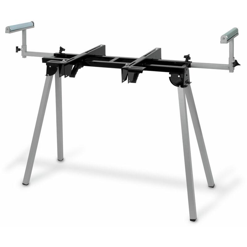 Eberth - 1600 mm Support universel pour Scie à onglet (136 kg Capacité de charge, 830 mm Hauteur de la table, Pliable, Roues de transport)