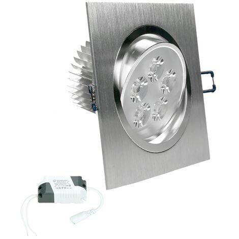 ECD Germany 1-Pack LED encastré éclairage 5W 230V - angulaire 120 x 120 mm - 334 Lumen - blanc chaud 3000K - pivotée de 30 ° - IP44 - Luminaire Lampe spot
