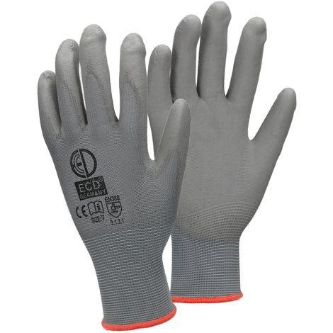 ECD Germany 1 paire de gants PU-travail, taille 7-S, gris, gants mécaniques Gants assemblage en nylon jardin, constructeurs, gants mécaniques
