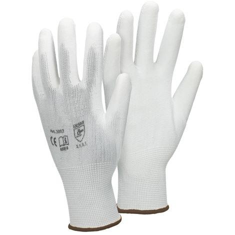 ECD Germany 1 paire PU gants de travail, la taille 9-L, couleur blanc, gants de mécanique, gants de travail en nylon jardin, les constructeurs, gants de mécanique