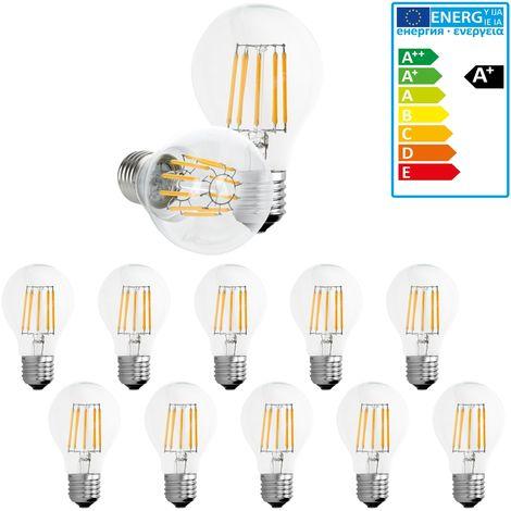 ECD Germany 10 bombillas LED Filamento E27 Clásico Edison 10W 1085 Lumen 120 ° Ángulo de haz AC 220-240V aproximadamente 50W bombilla incandescente Lámpara luz blanca cálida