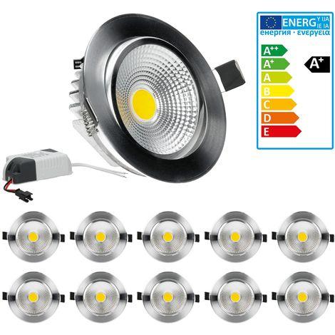 ECD Germany 10-er Pack LED Einbaustrahler COB 5W 230V - Silber - aus Aluminium - Ø 105 mm - 316 Lumen - Kaltweiß 6000K - Abstrahlwinkel 60° - Einbauleuchte Deckenleuchte Leuchtmittel Spot