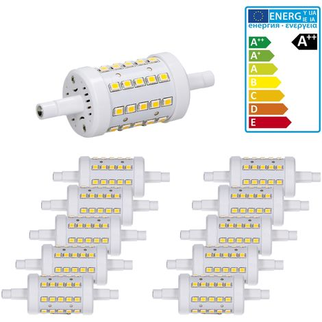 ECD Germany 10-Pack R7S Bombilla LED 7W 78mm 480 Lumen AC 220-240V Ángulo de haz de 360 ° Reemplazado 45W Bombilla de halógeno Blanco frío-regulable
