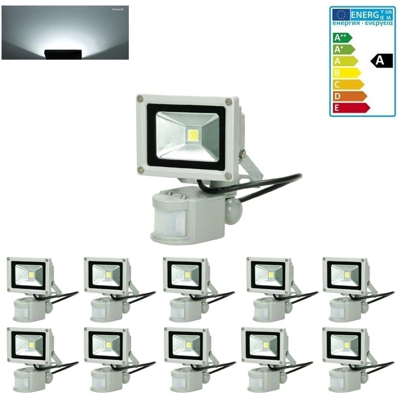 10 x 10W LED Faretto Proiettore con Sensore di Movimento 220-240V 600 Lumen Bianco Freddo 6000K Luce Faro da Esterno IP65 Impermeabile Faretti Fari