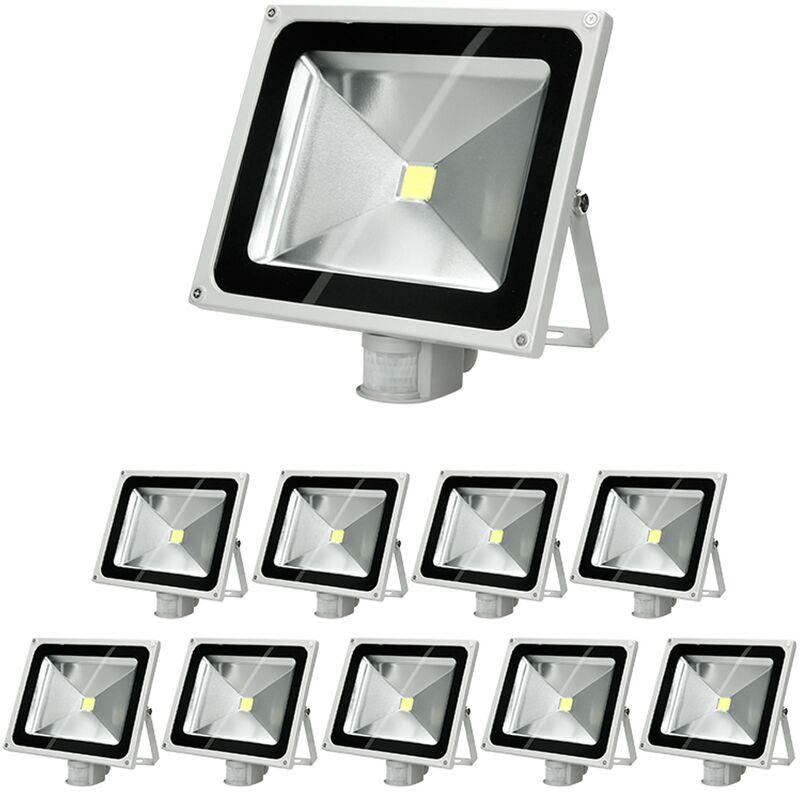 10 x Faretto Proiettore LED 50W con Sensore di Movimento AC 220-240V 2585 Lumen Bianco Caldo 2800K Luce Faro da Esterno IP65 Impermeabile Faro