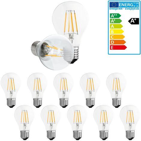 ECD Germany 10 x Bombilla LED Filamento E27 Clásico Edison 4W 408 Lumen 120 ° Ángulo de haz AC 220-240V aproximadamente 20W bombilla incandescente luz blanca cálida