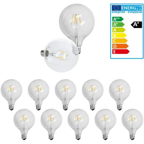 ECD Germany 10 x Bombilla LED Filamento E27 Edison 4W 125 mm 403 Lumen 120 ° Ángulo de haz AC 220-240V aproximadamente 20W Bombilla globo luz blanco cálido