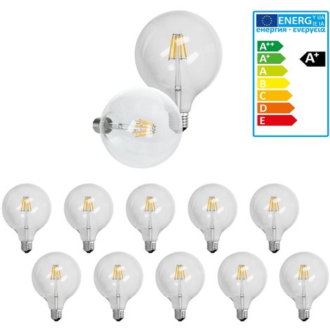 ECD Germany 10 x bombilla LED Filamento E27 Edison 6W 125 mm 624 lumen 120 ° Ángulo de haz AC 220-240V aproximadamente 40W lámpara incandescente Blanco cálido Globo