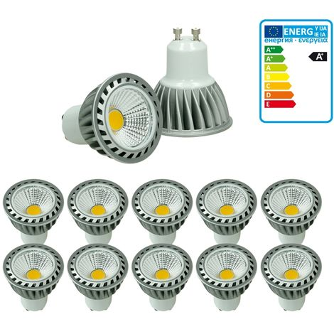 ECD Germany 10 x GU10 LED COB Spot 4W DIMMBAR REGULABLE lámpara ahorro de energía aprox. 205 lúmenes sustituye lámpara halógena de 30W blanco cálido 2800K