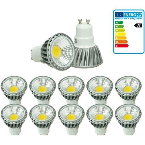 ECD Germany 10 x LED 6W COB GU10 Spot - Equivale 40W Halógeno - 220-240V - Ángulo de haz de 60 ° - 386 lúmenes - 6000K Blanco frío - Lámpara de foco