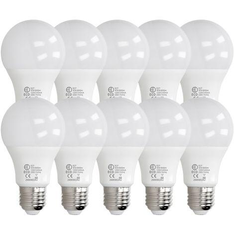 ECD Germany 10 x LED Bombilla globo LED 12W E27 - 3000 Kelvin - Ángulo de haz 270 ° - 800 lúmenes - Blanco cálido - 220-240 V - EEK A + - Bombillas casquillo gordo[clase energética A+]