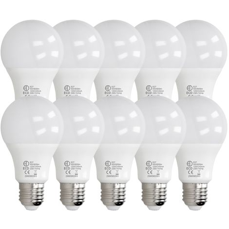ECD Germany 10 x LED Bombilla globo LED 12W E27 - 4000 Kelvin - Ángulo de haz 270 ° - 800 lúmenes - Blanco neutro - 220-240 V - EEK A + - Bombillas casquillo gordo[clase energética A+]