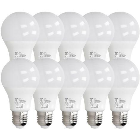 ECD Germany 10 x LED Bombilla globo LED 12W E27 - 6000 Kelvin - Ángulo de haz 270 ° - 800 lúmenes - Blanco frio - 220-240 V - EEK A + - Bombillas casquillo gordo[clase energética A+]