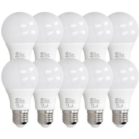ECD Germany 10 x LED Bombilla globo LED 7W E27 - 6000 Kelvin - Ángulo de haz 270 ° - 420 lúmenes - Blanco frio - 220-240 V - EEK A + - Bombillas casquillo gordo[clase energética A+]