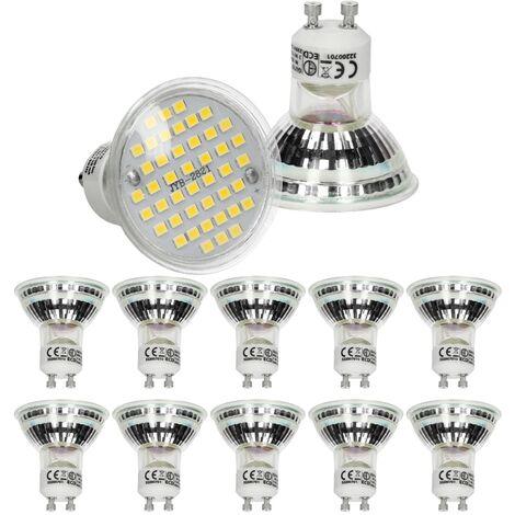 ECD Germany 10 x LED Lámpara LED GU10 44SMD Spot 3W - reemplace la bombilla de 20W - vidrio - 251 lúmenes - blanco neutro 4000K - bombilla empotrada foco empotrado [Energy Class A +]