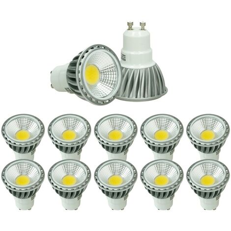ECD Germany 10 x LED Spot regulable 6W COB GU10 - Equivale 40W Halógeno - 220-240V - Ángulo de haz de 60 ° - 321 lúmenes - 4000K Blanco neutro - Lámpara de foco
