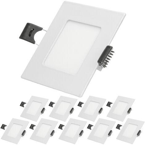 ECD Germany 10 x Ultraslim mince Panneau LED plafonnier encastré 3W 8,5 x 8,5 cm de SMD 2835 Blanc chaud 3000K 220-240 V environ 123 lumens Plafonnier encastré Angulaire