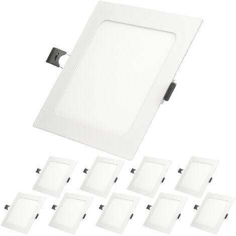 ECD Germany 10 x Ultraslim mince panneau LED Plafonnier encastré 9W 14,2 cm x 14,2 SMD 2835 6000K Blanc Froid 220-240 V environ 745 lumens Plafonnier encastré Angulaire