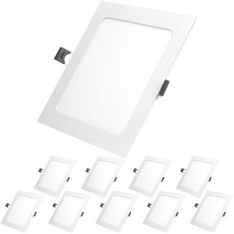 ECD Germany 10 x Ultraslim mince panneau LED Spot encastrable 12W 17x17cm SMD 2835 Blanc Chaud 3000K 220-240 V environ 678 lumens Plafonnier encastré Angulaire