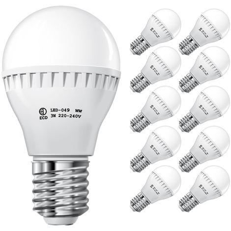 ECD Germany 10x Bombilla LED E27 3W 240V 300 lumens Reemplaza lámparas incandescentes de 25W Blanco cálido Lámpara ahorradora de energía de 2800 a 3500 K