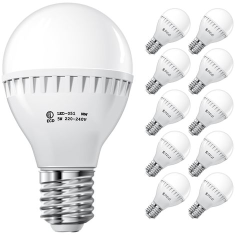 ECD Germany 10x Bombilla LED E27 5W 240V 500 lumens Reemplaza lámpara halógena de 40W blanco cálido Lámpara ahorradora de energía de 2700 a 3500 K