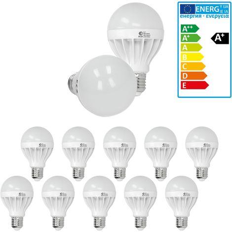 ECD Germany 10x Bombilla LED E27 9W 240V 900 lumens Reemplaza lámpara halógena de 60W blanco frío Lámpara ahorradora de energía de 5500-6500K