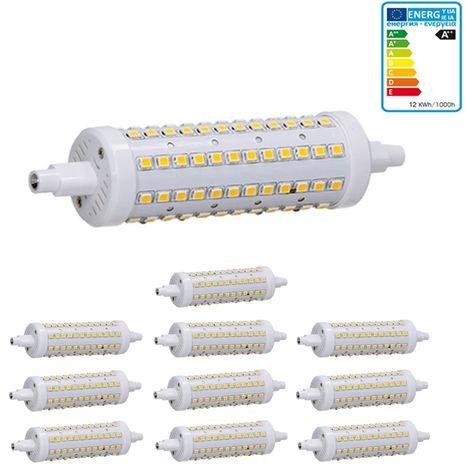 ECD Germany 10x Bombilla LED R7S 12W - 118mm - 720 Lumen - equivale a una bombilla halógena de 60W - Ángulo de haz de 360° - Blanco frio 6000K - Lámpara de iluminación halógena de barra