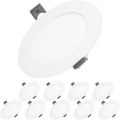 ECD Germany 10x Lámpara de techo empotrable redonda 6W - Blanco cálido 4000K - 324 lúmenes Ø12cm - panel ultradelgado de techo