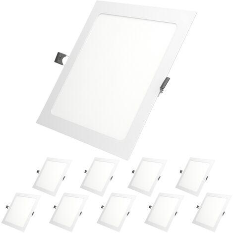 ECD Germany 10x LED Foco empotrable LED 12W - foco de techo de panel ultradelgado - 220-240V - 22 x 22 cm - blanco frío 6500K - focos empotrados cuadrados para salón baño o cocina[clase energética A