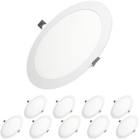 ECD Germany 10X LED Foco empotrable LED 18W - foco de techo de panel ultradelgado - 220-240V - SMD 2835 - Ø22 cm - blanco cálido 3000K - foco empotrable redondo para pasillo, baño o cocina [clase energética A]